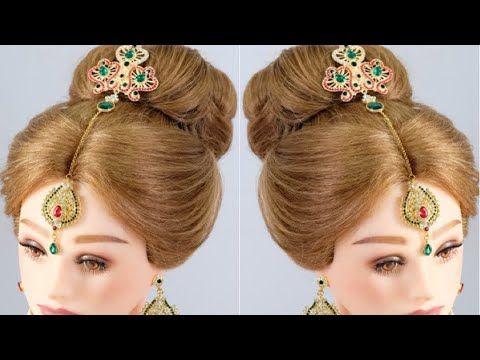 Bridal Hairstyle For Medium To Long Hair High Bun Hairstyle Tutorial Youtube High Bun Hairstyles Bun Hairstyles Hair Bun Tutorial