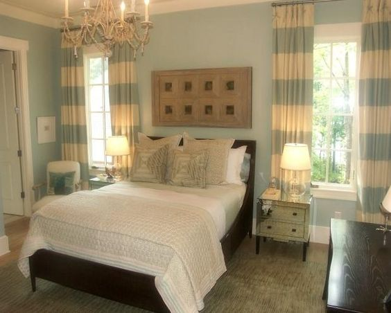 Blue Striped Curtains Bedroom - Curtains Design Gallery