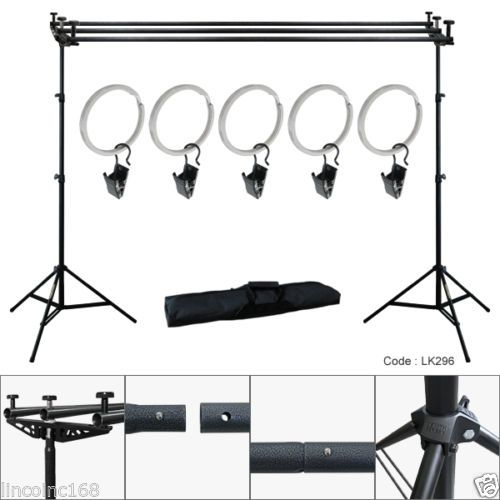 10ft Triple Crossbar Background Support Stand Photo Studio Backdrop Stand Kit Backdrop Stand Studio Backdrops Photo Studio