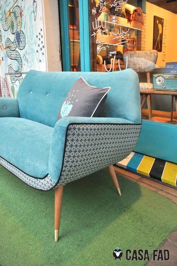 Sill n g ndola estilo retro americano lindsay turquesa - Sofa azul turquesa ...