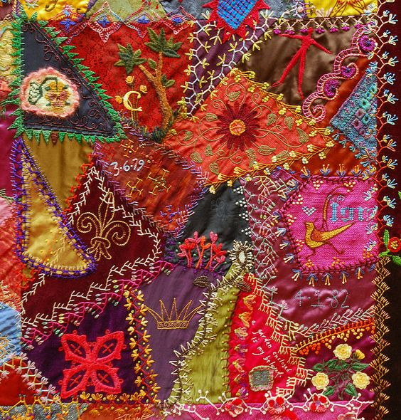 I ❤ crazy quilting . . .    One Of The Centre Patches  Part of the Crazy Quilt with Grandmother's Fans: