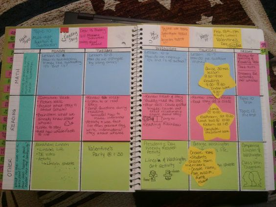 Post It Lesson Plan Book - lesson plan book with color coded post-it notes that can easily be reused year after year.  Notes can easily be moved to different days or different pages depending on my schedule.