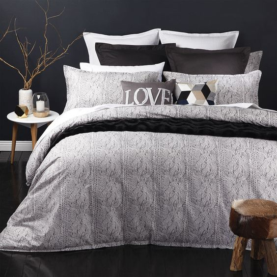 Canyon Charcoal Quilt Cover Set by Logan & Mason | shopinside.com.au