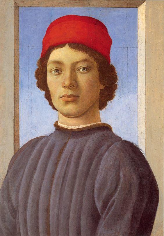 Портрет юноши в красной шапке (возможно авторство Филиппо Липпи) (ок.1477) (51 x 36). Sandro Botticelli (1445-1510) ?