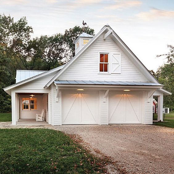 Garage inspiration white houses pinterest for Farm style garage doors