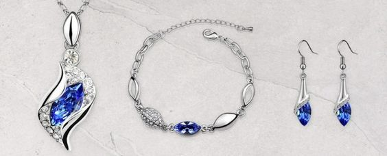 Conjunto de pulsera, pendientes y collar Cristal Austríaco
