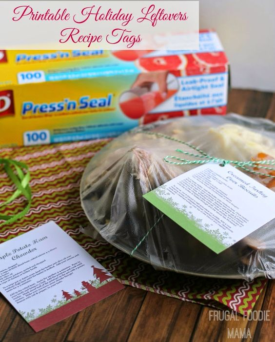 Printable Holiday Leftovers Recipe Tags- send your guests home with dinner & party leftovers & tasty recipe ideas too! #glad @GetGlad