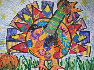 Fall Art Project: Turkeys With Crayon on Marker Resist