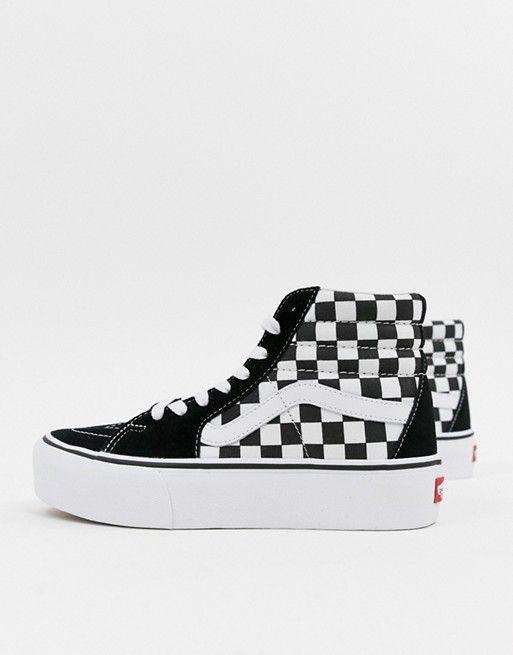 Vans Black Checkerboard Platform Sk8 Hi Sneakers | Vans