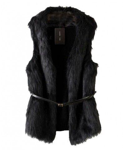 Black Fake Fur Sleeveless Vest