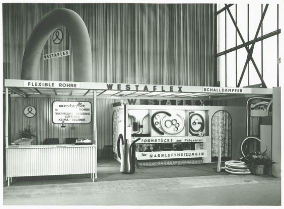 Bau-Messe ISH Messestand 1968 mit bahnbrechenden Neuheiten, u.a. dem voll-flexiblen Schornstein-Einzugsrohr @westaflex