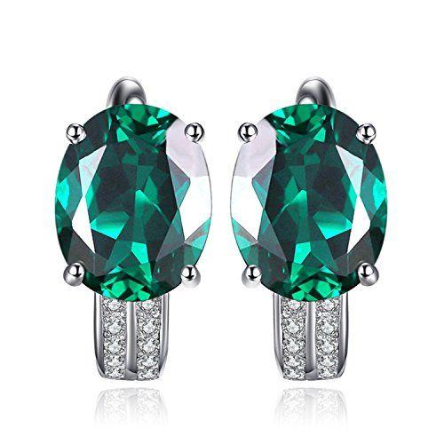 925 Argent Sterling Collier Pendentif /& Boucle D/'Oreille Set avec 2 Ct Diamant /& Émeraude