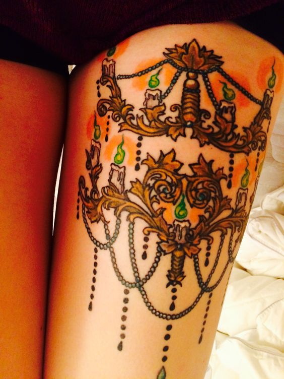 Chandelier tattoo completed color and everything