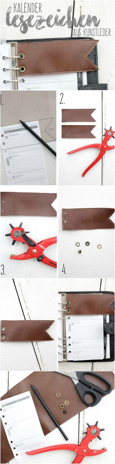 diy kalender lesezeichen kunstleder leder n hen basteln anleitung tutorial minuten braun sewing. Black Bedroom Furniture Sets. Home Design Ideas