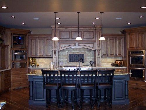 Knotty Alder Kitchen - traditional - kitchen - omaha - Designer Craft Kitchen & Bath Dark looks better with stained woodwork