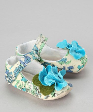 Take a look at this Green & Blue Fern Garden Mary Jane by Gracious May on #zulily today!