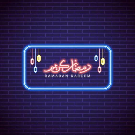 رمضان كريم خط النيون مع الجدار الفوانيس الخلفية دين احتفال تقليدي Png والمتجهات للتحميل مجانا Ramadan Kareem Ramadan Font Art