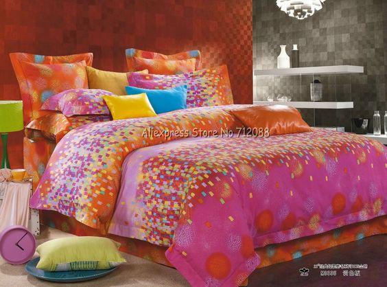 Pcs 4 rey/reina/completo consolador/edredones/cobijas/fundas de edredón conjuntos de naranja rosa círculo