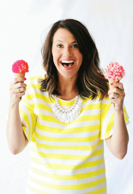 DIY Pom Pom Ice Cream Cones from The Proper Pinwheel! #poms #tutorial #icecream