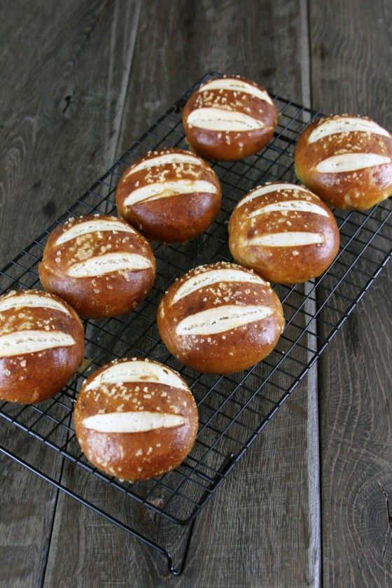 Salted Pretzel Rolls     Yield: 8 large rolls Prep Time: 20 minutes (plus 1 1/2 hours rise time) Cook Time: 15-20 minutes  Make the rolls smaller if you just want to use them as small dinner rolls.    Ingredients: 1 ½ cup warm water (110°F) 1 package active dry yeast (not instant rise yeast) 2 teaspoons sugar 4-½ cups unbleached all-purpose Flour 2 teaspoons