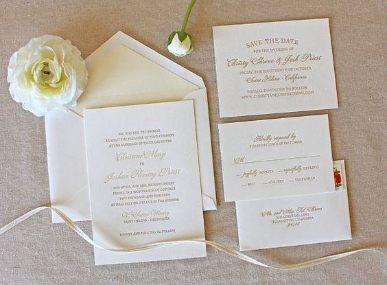 Bello Letterpress Wedding Invitation sample  by chathamandcaron, $1,100 invitation, Return Addresses, RSVP
