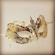 Laser Cut Venetian Mask Gold Masquerade Costume Ball Crystal Fancy Dress Prom