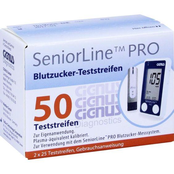 SENIORLINE PRO Blutzucker-Teststreifen Cignus:   Packungsinhalt: 2X25 St Teststreifen PZN: 11075018 Hersteller: CIGNUS GmbH Preis: 21,19…