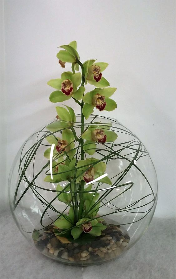 Over sized bubble with a cymbidium orchid stem sprouting out of the center, surrounded by river rocks and lily grass