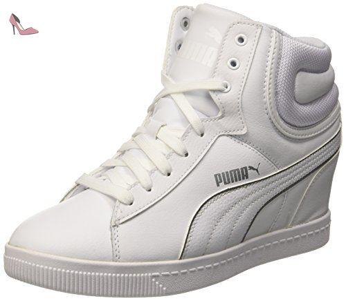 Puma Vikky Wedge L FS Sneaker à talon compensé XL Blanc/argenté ...
