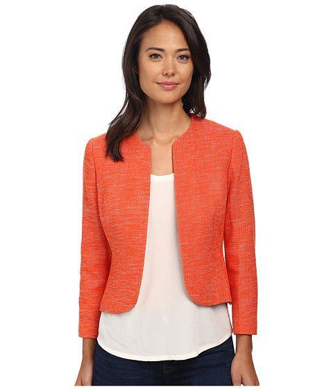 Anne Klein Anne Klein  Collarless Tweed Jacket OrangeWhite Womens Coat for 90.99 at Im in!