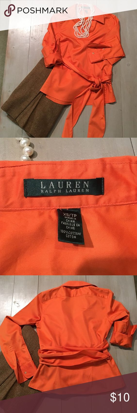 """Beautiful Ralph Lauren Wrap Shirt Size S Long sleeved wrap shirt with a cute collar in a great color. Size Small and fits true to size. Length: shoulder to hem 21"""". Bust around 17"""" or so. 😊 Awesome classy shirt that would look great with any skirt or pants. Lauren Ralph Lauren Tops Blouses"""