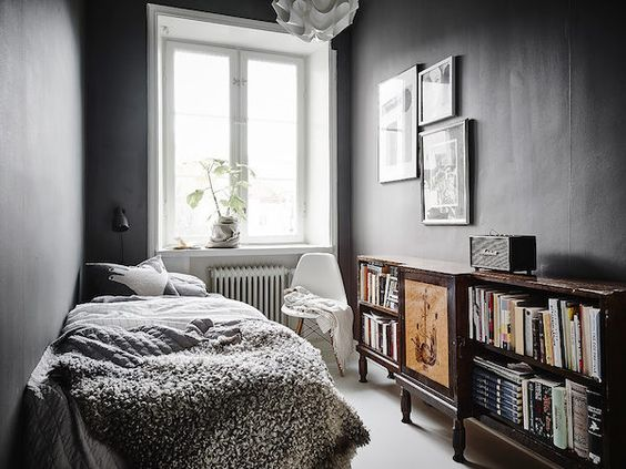 Dark Grey Walls In The Guest Bedroom Of A Stunning Swedish Apartment In Neutr