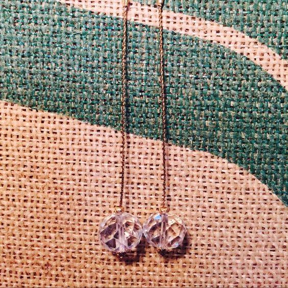 Crystal drop earrings Beautiful crystal cut bead. Long. Elegant. Jewelry Earrings
