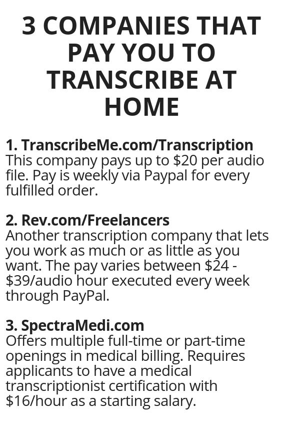 3 Companies That Pay You To Transcribe At Home Legit Work From Home Work From Home Opportunities Work From Home Jobs