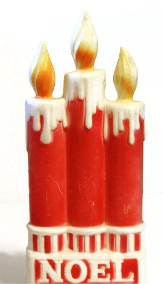 Vintage blow mold candle noel dapol christmas kitsch for Outdoor christmas candles
