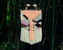 Woven Wall Hanging / Handwoven Tapestry / Weaving Fiber Art / Peach Patchwork Stairs LARGE