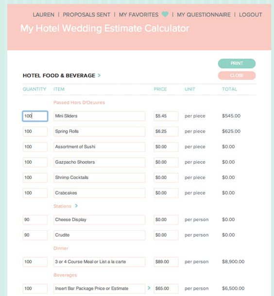 Online Wedding Budget Calculator