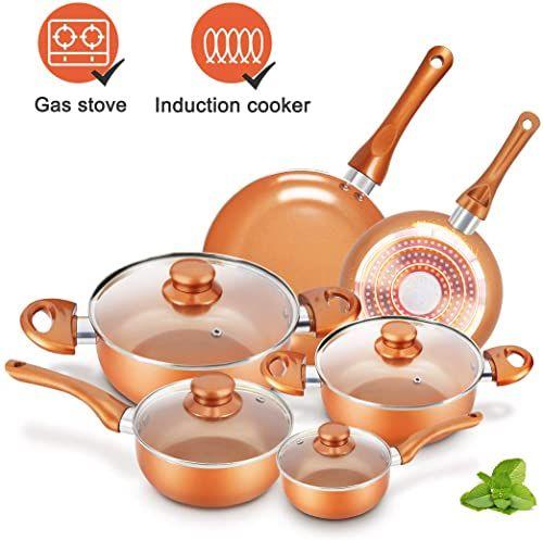 New Cookware Set Nonstick Pots Pans Set Copper Pan Kutime 6pcs Cookware Set Non Stick Frying Pan Ceramic Coating Stockpot Cooking Pot Copper Aluminum Pan In 2020 Pots And Pans Sets Cookware