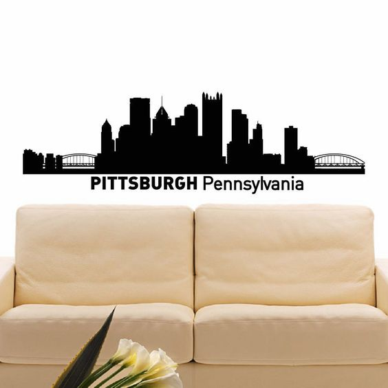 Pittsburgh Skyline City Silhouette Vinyl Wall Art Decal Sticker - How to make vinyl wall decals with silhouette