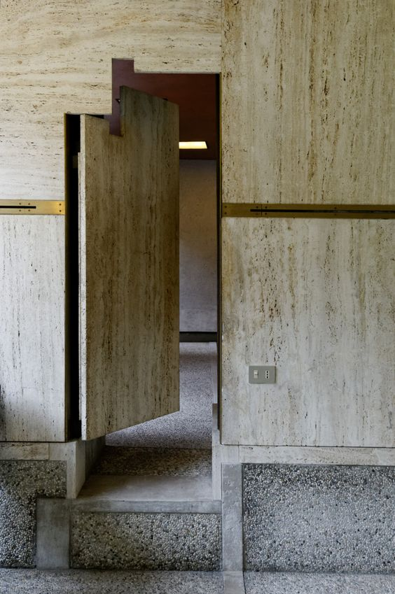 Door to gallery annex of the Fondazione Querini Stampalia (1963) in Venice, Italy by Carlo Scarpa.  Architects should have aspirations rooted in external influences like politics, ethics, civic and social virtue; ideologies that architecture openly desires to become a vessel for, but they should not forget what architecture actually is: the physical truths that present themselves through the act of construction.