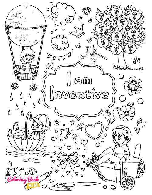I Am Inventive Coloring Page For Girls In 2020 Coloring Books Book Girl Positive Character Traits