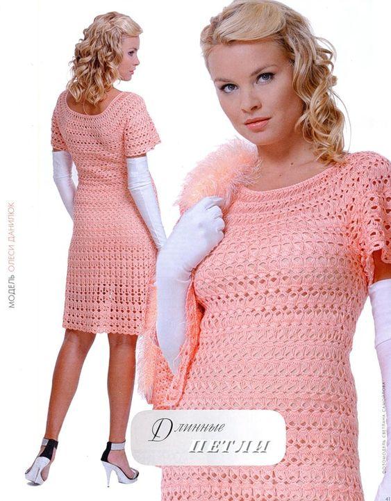 crochelinhasagulhas: Vestido rosa em crochê