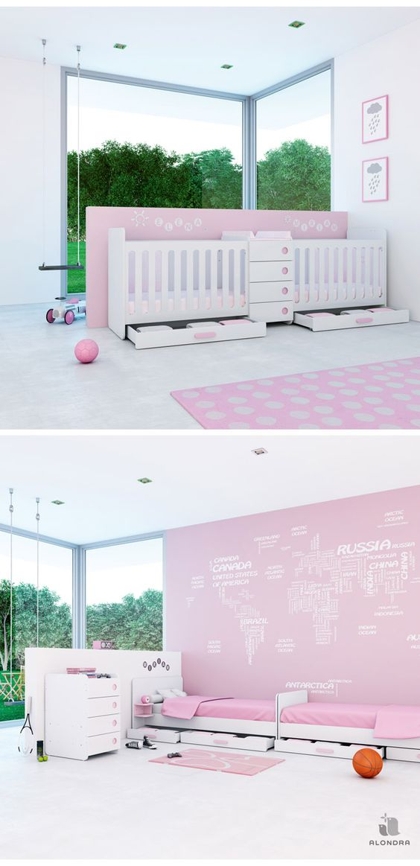 Cunas convertibles en cama para bebés gemelos en color rosa, especialmente diseñada para niñas. ¡Un lugar único para tus gemelas!