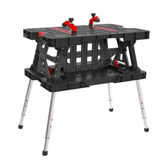 Folding Compact Height Adjustable Plastic Top Workbench