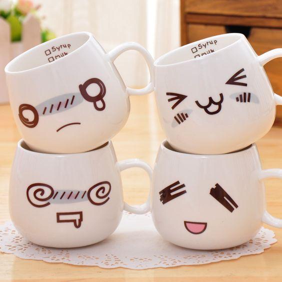 White Cute Creative Cartoon Expression Design Mugs Diy