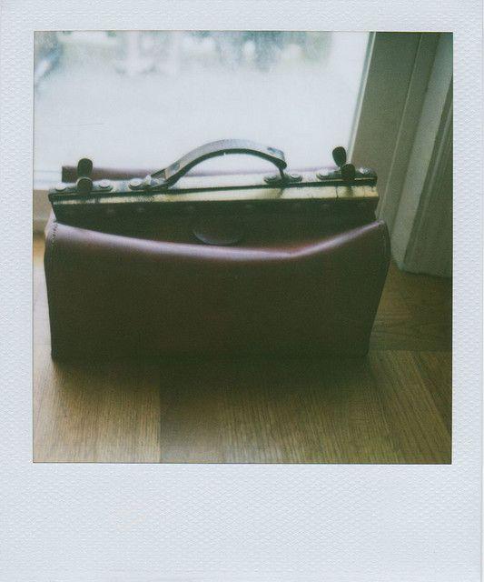 a vintage leather bag from Paris's flea market