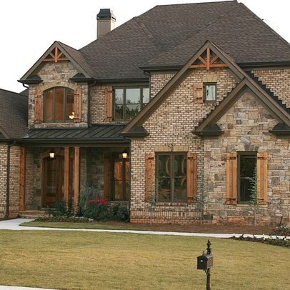 Bricks stones and shutters on pinterest for Brick homes with stone accents