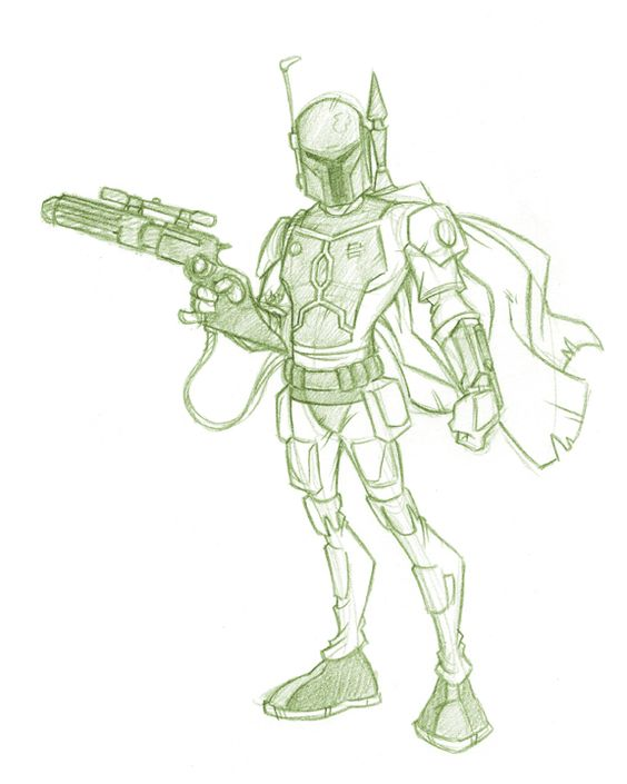 a little sketch i did to get the feel of boba fett for the commission. copyright Lucasfilm