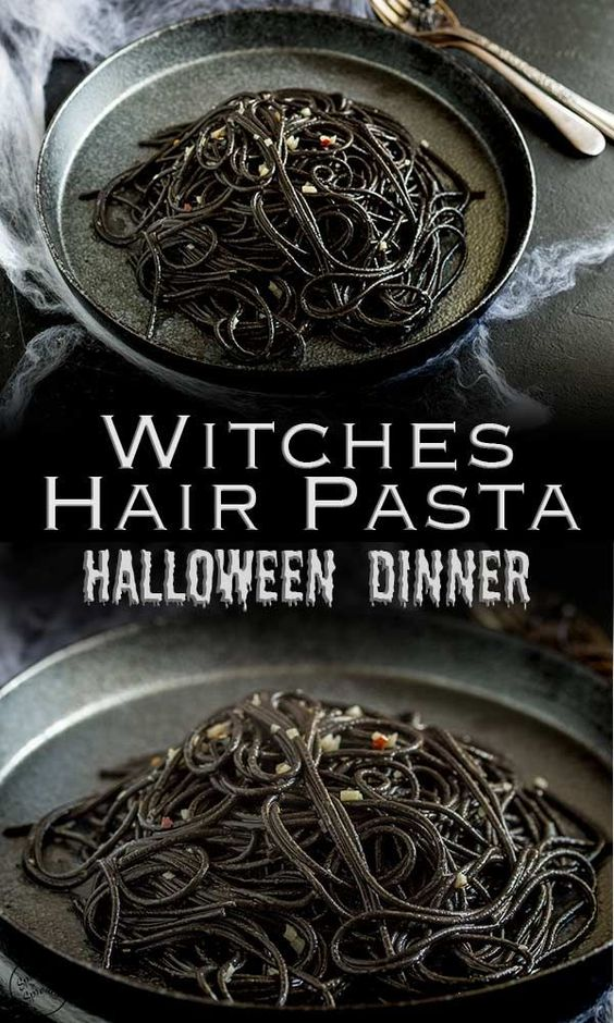 halloween party treats witches hair pasta