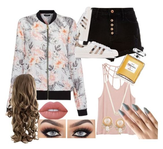 """Cool girl on the springy block"" by ohspencer on Polyvore featuring River Island, adidas Originals, RVCA, Kendra Scott, Carolee, Lime Crime and Chanel"